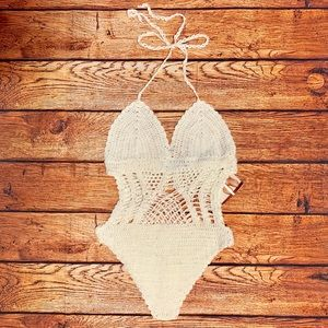 Naked Wardrobe White Crochet One Piece Bikini